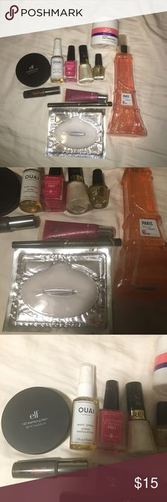 HUGE beauty bundle!! Includes perfume (used), collagen lip mask(new),eye liner(used once),one lip gloss(lightly used), wave hair spray(used once), mini mascara(used lightly), 3 nail polishes(one new two lightly used), face moisturizer (lightly used), and one face mattifying balm(swatched), eye shadow brush(new), eye shadow(new), face glow(new), perfume vial(tested once), eye shadow primer(new), and 2 face lotion(new), Brands include benefit, Victoria's Secret, revlon, derma e, elf, rimmel…