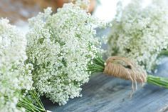 Baby's breath bouquet with twine stem wrap. Barn wedding, outdoor wedding,  Bridal bouquet or great for bridesmaides