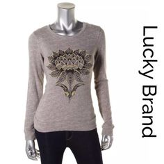 """🇺🇸SALE🇺🇸 Lucky Brand Lucky Lotus Graphic Lucky Brand vintage inspired Lucky Lotus graphic print sweatshirt in a gray/ beige 100% cotton..bust:33"""" Lucky Brand Tops Sweatshirts & Hoodies"""