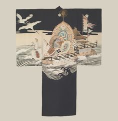 Boy's Ceremonial Kimono, Mid to late Meiji (1880-1911), featuring auspicious motifs such as many auspicious symbols, with many embroidery highlights on the 'Kaendaiko' (flame), 'tsuzumi' (Japanese hand drum), 'shou' (Japanese flute), and phoenix head. The Kimono Gallery