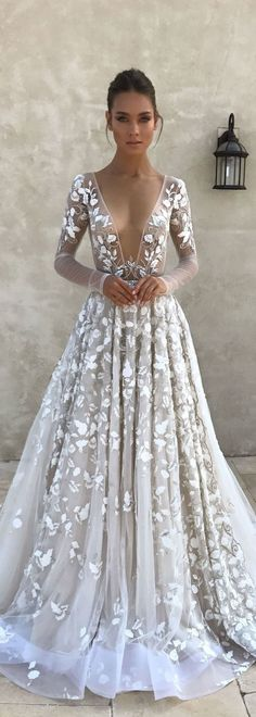 3D Floral Wedding Dress with Long Sleeves by Berta #weddingdress
