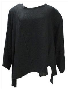 AKH Fashion Lagenlook Viskose Leinen Shirt asymetrisch in schwarz XXL Mode bei www.modeolymp.lafeo.de