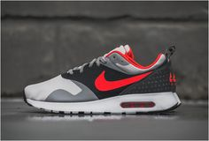 Another iteration of the Nike Air Max Tavas is showcased with dominating shaded of Grey and Bright Crimson. Look for it now from select Nike accounts. New Nike Shoes, Nike Free Shoes, Nike Shoes Outlet, Running Shoes Nike, Jordan Shoes, Air Jordan, Zapatillas Nike Air, Zapatillas Casual, Air Max Sneakers