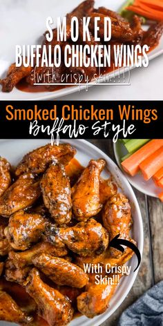 The ultimate method for Smoked Buffalo Chicken Wings with Crispy Skin. No frying required! Learn the secret to the very best smoked wings. And a great buffalo sauce that will have you licking your fingers! Smoker Chicken Wings, Chicken Wing Marinade, Smoke Chicken Wings Recipe, Recipe For Buffalo Wings, Smoked Chicken Wings Rub, Buffalo Wings Recipe Grilled, Sauce For Chicken Wings, Siracha Chicken Wings, Chicken Wing Sauces