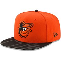 finest selection 4ae73 ec664 Men s New Era Orange Black Baltimore Orioles Front Flect Logo Snap 9FIFTY Adjustable  Hat