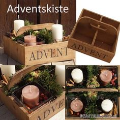 DIY Adventskranz in Adventskiste im Landhausstil... Christmas Gift Wrapping, Christmas Cards, Xmas, Advent Calenders, House Design, Candles, Table Decorations, Furniture, Home Decor