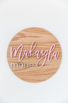 Nursery Name Sign - Round Name Sign - Girl Nursery Sign - Nursery Décor by Wellwood Designs