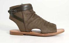 Soda Shoes Purce Peep Toe Sandals in Olive
