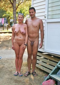 With beautiful nude couples at beach