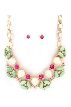 Pretty mint, pink and ivory jewel necklace and earrings.