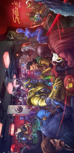 I love how Stan Lee is in the back bartending Marvel Villians - the only thing that would make this better is if Apocalypse was in it. Marvel Avengers, Marvel Dc Comics, Heros Comics, Marvel Villains, Marvel Heroes, Funny Comics, Comic Book Characters, Marvel Characters, Comic Character