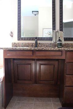 KSI Designer, Alda Opfer traditional-bathroom Could suspend towel bar in empty space under sink Ada Bathroom, Handicap Bathroom, Small Bathroom With Shower, Small Bathroom Vanities, Bathroom Vanity Cabinets, Modern Bathroom Design, Bathroom Interior, Bathroom Ideas, Master Bathroom