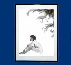 Solitude Portrait Original Art Illustration Black by EstefAzevedo
