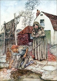 "The fisherman and his wife had no children . Illustration by Arthur Rackham from 'The Fish and the Ring' (""English Fairy Tales"", Arthur Rackham, Fantasy Landscape, Fantasy Art, Vintage Fairies, Fairytale Art, Children's Book Illustration, Book Illustrations, All Nature, Gustav Klimt"