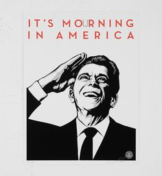 """Entitled """"It's mourning in America"""", this screen print by Shepard Fairey (Obey) is an edition of Made in may it is signed and numbered by the artist. Format : 18 x 24 inches x 61 cm). The work is sold unframed. Barbara Kruger, Diego Rivera, Andy Warhol, Shepard Fairey Obey, America Images, The Future Is Now, Screen Printing, Prints, Artist"""