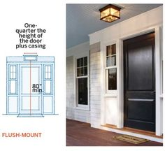 Flush-mount lighting is ideal for low-ceiling entries, or entries with screen or storm doors, and porches open to wet weather. Front Door With Screen, Front Door Porch, Exterior Front Doors, House Paint Exterior, Front Entry, Front Porches, Entry Doors, Southern Farmhouse, Farmhouse Front