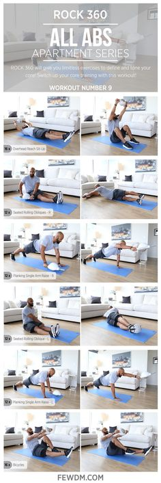 ROCK 360's omnidirectional exercises introduce you to core training without limitations!  Workout#9 in the Apartment Series, All Abs.