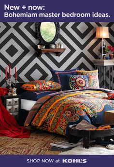 food_drink - Design the bohemian bedroom of your dreams by mixing and matching different colors, patterns and textures Get more bohemian master bedroom inspiration at Kohl's and Kohls com KOHLS MasterBedroomIdeas Interior Paint Colors, Paint Colors For Home, Interior Design, My New Room, My Room, Boho Bedroom Decor, Curtains For Sale, Decoration, Diy Home Decor