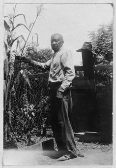 Gus Johnson , 90 years or more, was born a slave of Mrs. Betty Glover , in Marengo Co., Alabama, Most of his memories are of his later boyhood in Sunnyside, Texas. He lives in en unkempt, little lean-to house, in the north end of Beaumont, Texas. There is no furniture but a broken-down bed and an equally dilapidated trunk and stove. Gus spends most of his time in the yard, working in his vegetable garden.