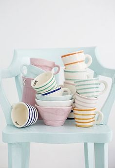 pastel toned cups variety