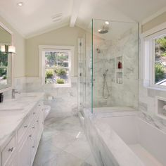 White Marble Bathroom Design Ideas, Pictures, Remodel and Decor