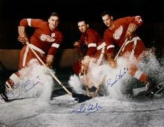 """""""THE PRODUCTION LINE"""" - Ted Lindsay, Sid Abel & Gordie Howe considered the greatest hockey line of all time it's never been matched. Detroit Hockey, Detroit Sports, Hockey Games, Hockey Players, Detroit Red Wings, Ted Lindsay, Sports Uniforms, Sports Teams, Red Wings Hockey"""