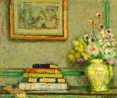 (c) Clementina Stiegler; Supplied by The Public Catalogue Foundation. Still life with books & flowers Ethel Sands Female Painters, Book Flowers, Post Impressionism, Painting Still Life, Art Uk, Les Oeuvres, Flower Art, Book Art, Illustration Art