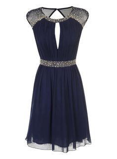 Little Mistress Navy Fit And Flare Dress - View All Dresses - Dresses