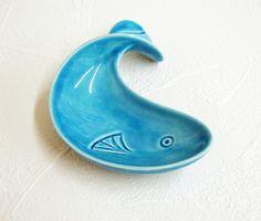 Ceramic Fish Dish Vintage Design Retro Trinket Dish in Aqua Blue. $14.00, via Etsy.