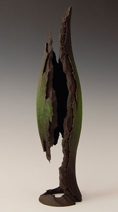 """John Goodyear """"stillness in the forest"""" 2009 American Cherry and Acrylics 16 x 4 (inches) Currently available through del Mano Gallery Driftwood Sculpture, Driftwood Art, Abstract Sculpture, Sculpture Art, Metal Sculptures, Bronze Sculpture, Trunk Furniture, Decorative Gourds, Paperclay"""