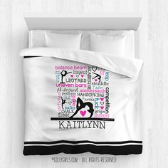 Golly Girls: Personalize Gymnastics Typography Comforter only at gollygirls.com