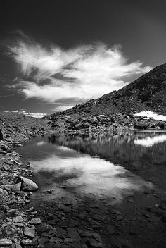monochrome,mono,black and white,lake,river,reflections,mountains,landscapes,nature, national park sierra nevada, spain, granada, nature, landscape, outdoors,  exterior, europe, photography, river, mountain,grass,snow,water,