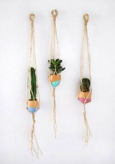 DIY Mini Hanging Macrame Garden  Crafttuts+ http://www.apartmenttherapy.com/diy-mini-hanging-macrame-garden-crafttuts-190691
