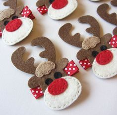 Reindeer Felt these would be cute felt ornaments - Rudolph the Red Nosed Reindeer Clippies - Christmas Winter Holiday Hair Clips. $3.50, via Etsy.