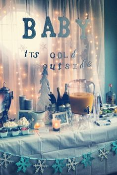 Baby Snow Shower -- Winter Baby Shower Brunch.  Brunch Mimosa Bar, Bloody Mary Bar, and Hot Cocoa Bar!