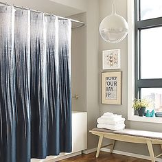 For a cool contemporary style, the Kenneth Cole Horizon Shower Curtain features a modern sand art design with sharp lines and a rich ocean blue hue. This printed cotton sateen curtain brings a fresh look and feel to your bathroom décor.