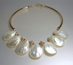 Shell Necklace Gold Necklace Swarovski Crystal by ElsaWadesdesigns, $95.00