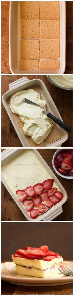 Strawberry Ice Box Cake Step by Step from crunchycreamysweet.com  Strawberries and Cream Ice Box Cake Recipe