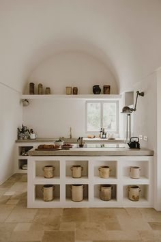 Great interior design, build in shelving and the arched interior architecture, beautiful kitchen by photography by… Rustic Kitchen, New Kitchen, Kitchen Decor, Kitchen Tables, Kitchen Sink, Küchen Design, House Design, Interior Architecture, Interior Design