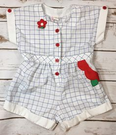 d1a49aefcc32 Vintage 80s Baby Togs White Blue Plaid Short Romper Flowers Toddler Girl  Size 4T