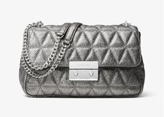 0241e766335ee0 Michael Kors Sloan Pyramid Quilted Leather Crossbody Shoulder Bag, Metallic Pewter  Silver