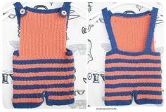 latzhose junge mädchen blau orange unisex stricken
