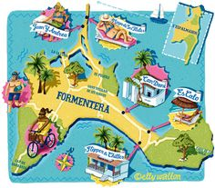 Formentera Map for N for Norwegian Magazine - Elly Walton Es Pujols, Building Map, Illustrated Maps, Japanese Things, Hotels, Craft Images, Balearic Islands, Spain Travel, Beautiful Legs