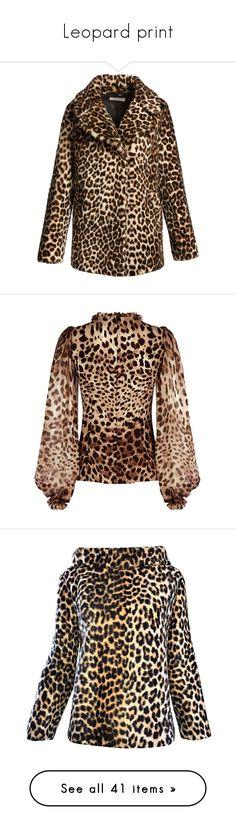"""Leopard print"" by lorika-borika on Polyvore featuring outerwear, coats, brown coat, fur-lined coats, long sleeve coat, sheep fur coat, brown shearling coat, tops, blouses и sheer leopard blouse"