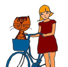 PRINTABLE Greeting Card Let's Have a Ride Cat by GreetingsFromAW