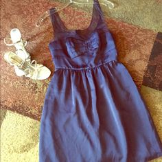 American Eagle blue cocktail dress Beautiful dress in excellent condition. Very flattering . 100 % polyester , machine wash , tumble dry. American eagle size 4 American Eagle Outfitters Dresses Mini