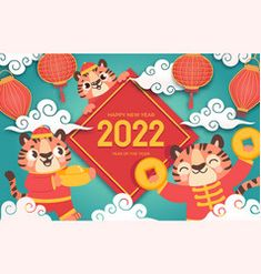 New Year Symbols, Seasons Activities, Cute Tigers, Chinese New Year, Vector Free, Web Design, Calendar, Illustration, Cover