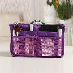 2016 Women Makeup Organizer Bag Handbag Purse Large liner Travel Insert Lady Casual Cosmetic Bag Travelling Bag Multifunction