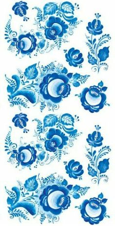 Folk Gzhel painting from Russia. A floral pattern.