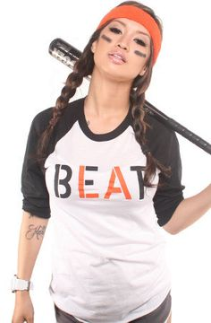 Beat LA (Women's White/Black Raglan Tee) http://adaptadvancers.myshopify.com/collections/womens-classic-tees/products/copy-of-beat-la-womens-white-black-raglan-tee